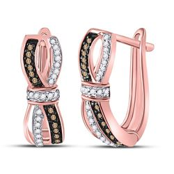 Round Brown Diamond Fashion Hoop Earrings 1/5 Cttw 10kt Rose Gold