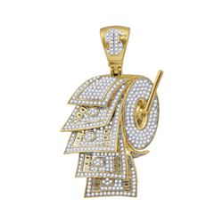 Mens Diamond Dollar Bill Toilet Paper Roll Charm Pendant 2-7/8 Cttw 10kt Yellow Gold