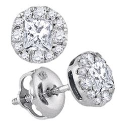 Diamond Framed Screwback Stud Earrings 1/2 Cttw 14kt White Gold