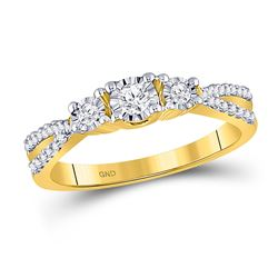 Diamond 3-stone Bridal Wedding Engagement Ring 1/3 Cttw 10kt Yellow Gold