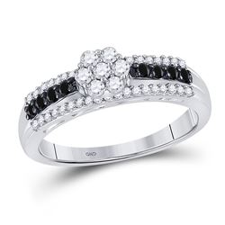 Round Black Color Enhanced Diamond Cluster Ring 1/2 Cttw 10kt White Gold