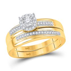 Diamond Bridal Wedding Engagement Ring Band Set 1/4 Cttw 10k Yellow Gold