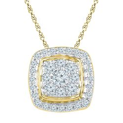 Diamond Square Cluster Fashion Pendant 1/2 Cttw 10kt Yellow Gold