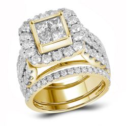 Diamond 3-Piece Bridal Wedding Engagement Ring Band Set 4.00 Cttw 14kt Yellow Gold