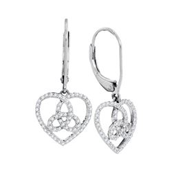 Diamond Triquetra Heart Trinity Dangle Earrings 1/5 Cttw 10kt White Gold