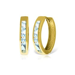 Genuine 1.20 ctw Aquamarine Earrings 14KT Yellow Gold - REF-58V7W
