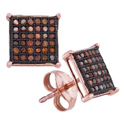 Round Red Color Enhanced Diamond Square Cluster Earrings 1/4 Cttw 10kt Rose Gold