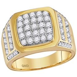 Mens Diamond Square Cluster Ring 2.00 Cttw 14kt Yellow Gold