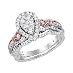 Diamond Teardrop Cluster Bridal Wedding Engagement Ring Band Set 1.00 Cttw 14kt Two-tone White Gold