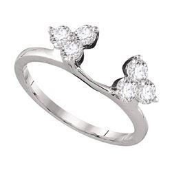 Diamond Ring Guard Wrap Enhancer Band 3/4 Cttw 14kt White Gold