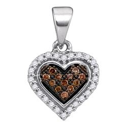 Round Brown Diamond Heart Cluster Pendant 1/8 Cttw 10kt White Gold