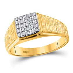 Mens Diamond Square Cluster Brushed Ring 1/8 Cttw 10kt Yellow Gold