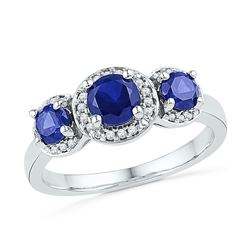 Round Lab-Created Blue Sapphire 3-stone Diamond Ring 1-3/8 Cttw 10kt White Gold