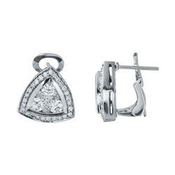 1.5 CTW Diamond Earrings 14K White Gold - REF-177F9N