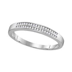 Mens Diamond Slender Double Row Band Ring 1/5 Cttw 10kt White Gold