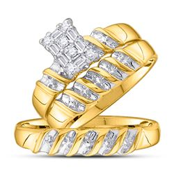 His & Hers Diamond Cluster Matching Bridal Wedding Ring Band Set 1/10 Cttw 10kt Yellow Gold
