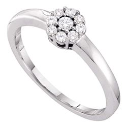Diamond Cluster Bridal Wedding Engagement Ring 1/5 Cttw 14kt White Gold