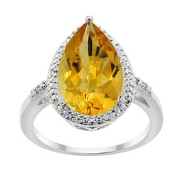 5.55 CTW Citrine & Diamond Ring 14K White Gold - REF-44A9X
