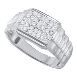 Mens Diamond Rectangle Cluster Ribbed Ring 1/2 Cttw 10kt White Gold
