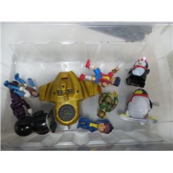 Box of Action Figures & Windup Penguins
