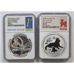 2018-P AUSTRAILIA YEAR OF THE DOG NGC MS 70