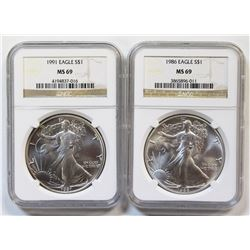 1986 AND 1991 AMERICAN SILVER EAGLES