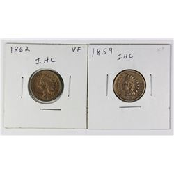 1859 AND 1862 INDIAN CENTS