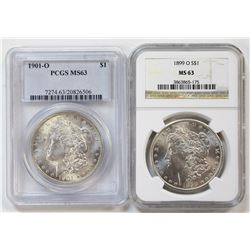 (2) MORGAN SILVER DOLLARS