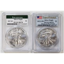 2012-W AND 2017-P AMERICAN SILVER EAGLES