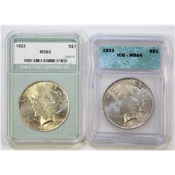 (2) PEACE SILVER DOLLARS