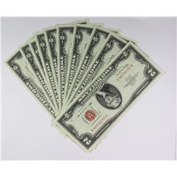 10 PIECE 1963 $2.00 U.S. NOTES