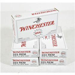 100 Rounds Winchester 223 Caliber 55 Grain FMJ