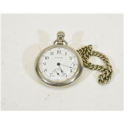Working Waltham Pocket Watch With Belt Chain