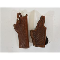 Two Tooled Leather Holsters