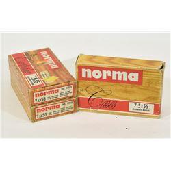 9 Rounds Norma 7.5 x 55 Schmidt Rubin & 51 Brass