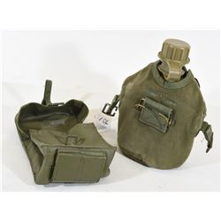 Military Canteen and Leather Pouch