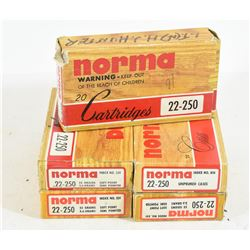 96 Rounds Norma 22-250 55 Gr. SP Ammo