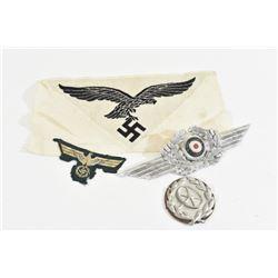2 Cloth Patches & 2 Metal Nazi Emblems