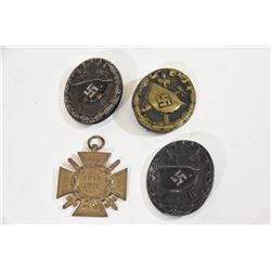 3 Black Wound Badges + Hindenburg Cross