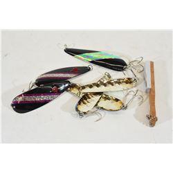 Six Spoon Lures & Hook Sharpener