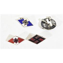 4 Hitler Youth HJ Pins Enamel