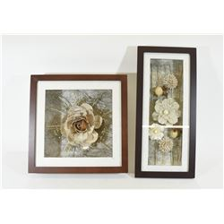 Two Framed Artificial Flowers