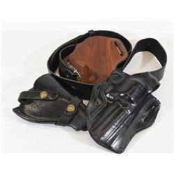 Three Leather Holsters and Leather Belt
