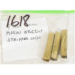 Four Mosin Nagant Brass Stripper Clips