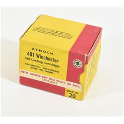 20 Rounds Kynoch 401 Winchester Self Loader 200 G