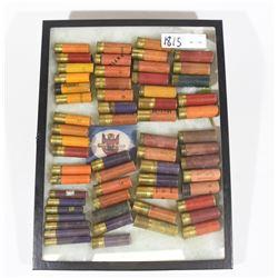 Vintage Shotshells of Various Ga in Display Case