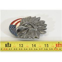 Indian Eagle USA Flag Belt Buckle