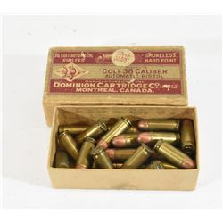 28 Rnds. Vintage Dominion 38 Colt Automatic Ammo