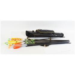 Black Leather Quiver with 10 Carbon Fiber Arrows