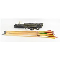 Black Leather Quiver with 9 Wooden Arrows